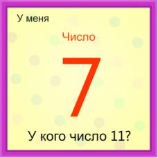 Игра У кого - У меня на тему Числа 1-25 на узнавание